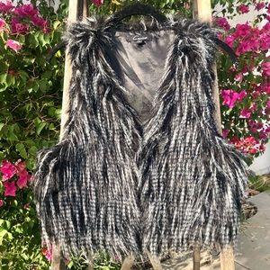 Cecilia Faux Fur Vest in Black/White